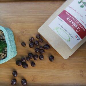 Cranberry enrobées de chocolat Noir 70%, 100g