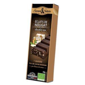 Barre de chocolat noir au nougat de Montélimar,45g