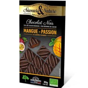 Carrés de chocolat noir 70% fourrés Mangue Passion